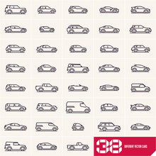 Cars Line Icons Set, Different...