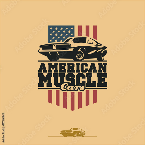 Zdjęcie XXL American muscle cars label, vector muscle car icon