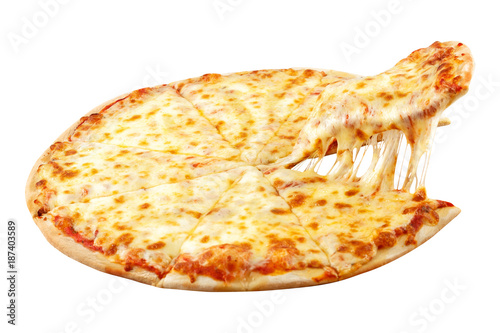 Photo Pizza Margarita with mozzarella cheese, basil and tomato, template for your design and menu of restaurant, isolated white background