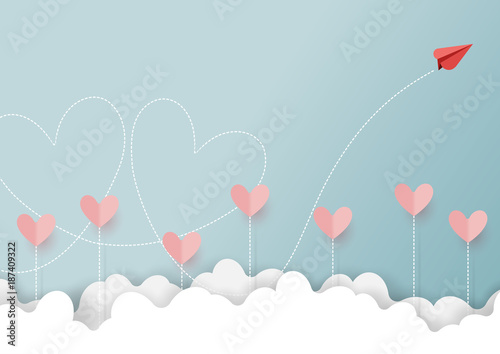 Foto Paper art style of valentine's day greeting card and love concept