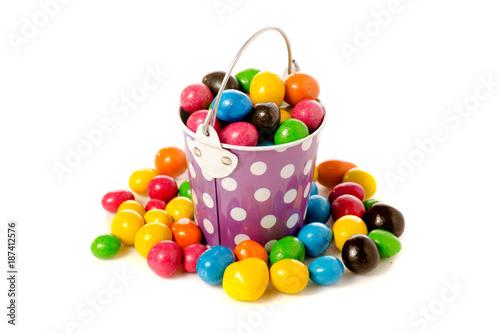Foto op Aluminium Snoepjes Bucket Nuts in a multi-colored glaze dragee