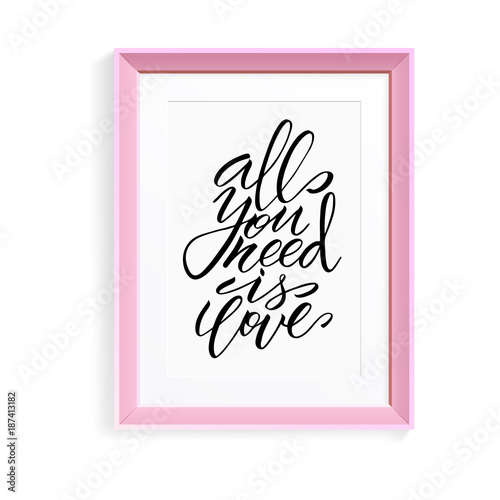 Unique brushpen lettering all you need is love Poster
