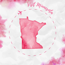 Minnesota Watercolor Us State ...