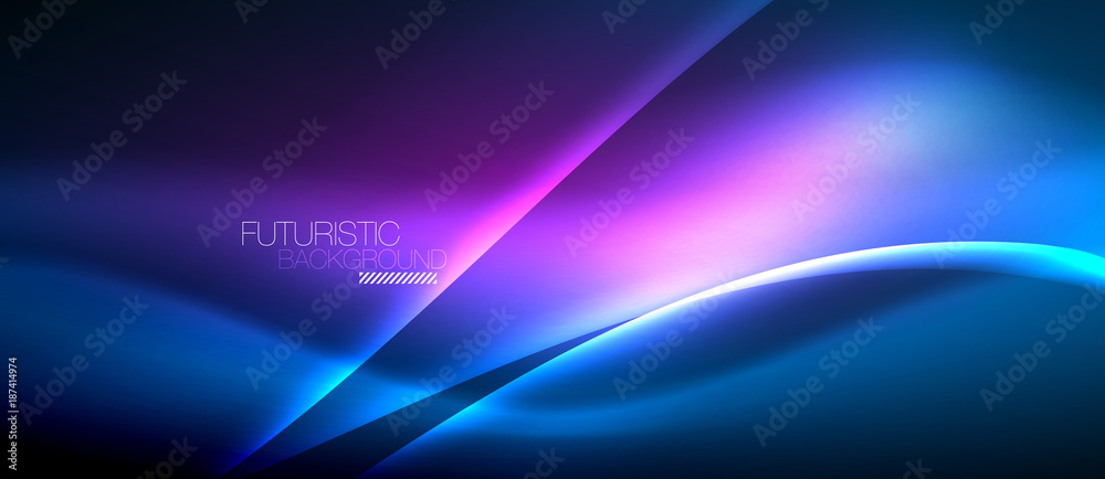 Fototapety, obrazy: Neon glowing wave, magic energy and light motion background