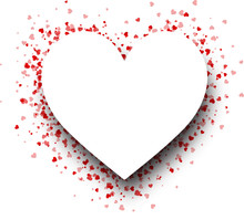 Heart Shape Background With Red Hearts.