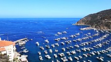 Footage - Blue Harbor With Anchored Yachts In Catalina Island, California