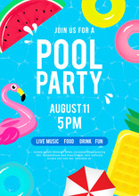 Pool Party Invitation Vector I...