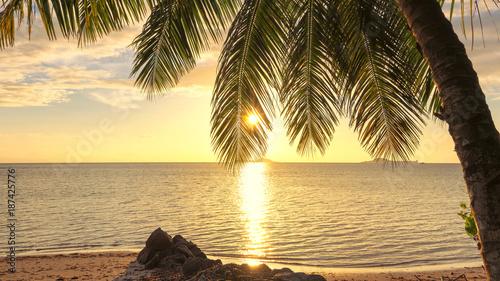 Tuinposter Zwavel geel Sunset on the beach