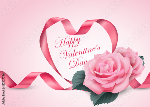 happy valentine s day pink ribbon heart with delicate pink
