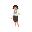 Pretty businesswoman standing with project plans and rolled blueprints for engineer job. Cartoon woman in formal corporate clothing. Isolated flat vector design