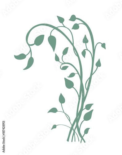 ivy vine silhouette vector, elegant decorative border and