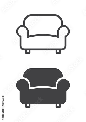 Sofa, couch icon, line and solid version, outline and filled vector sign, linear and full pictogram isolated on white Tableau sur Toile