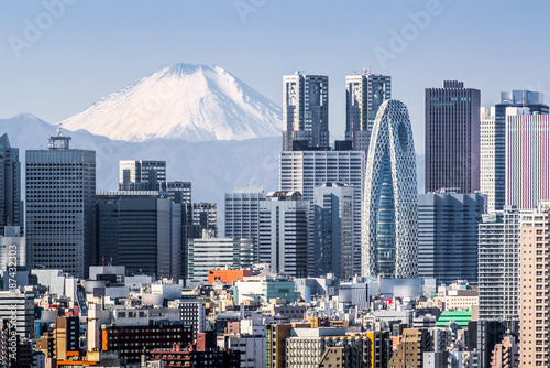 Photo Stands Tokyo Tokyo Shinjuku building and Mt. Fuji at Behind