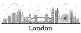 Fototapeta Londyn - Outline London England City Skyline with Modern Buildings Isolated on White.