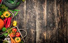 Organic Food. Fresh Harvest Of Vegetables.