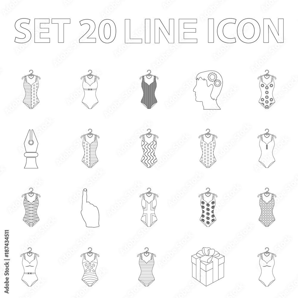 0086cb67ee0dc4 Różne rodzaje strojów kąpielowych zarys ikony w zestaw kolekcja dla  projektu. Pływanie akcesoria wektor symbol giełdzie www ilustracja.