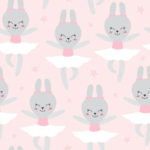 Cute Baby Pattern With Little Bunny. Cartoon Animal Girl Print Vector Seamless. Adorable Pink Background With Ballerina Rabbit For Girl Dress Fabric, Nursery Or Children Birthday Party.