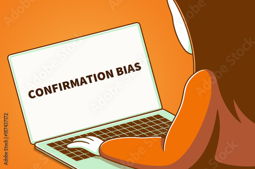 Woman looking at a laptop screen with the words confirmation bias Canvas Print