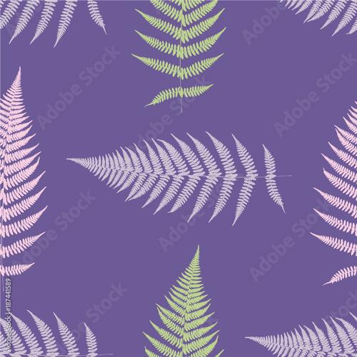 Obrazy wieloczęściowe kolorowe liście na fioletowym tle