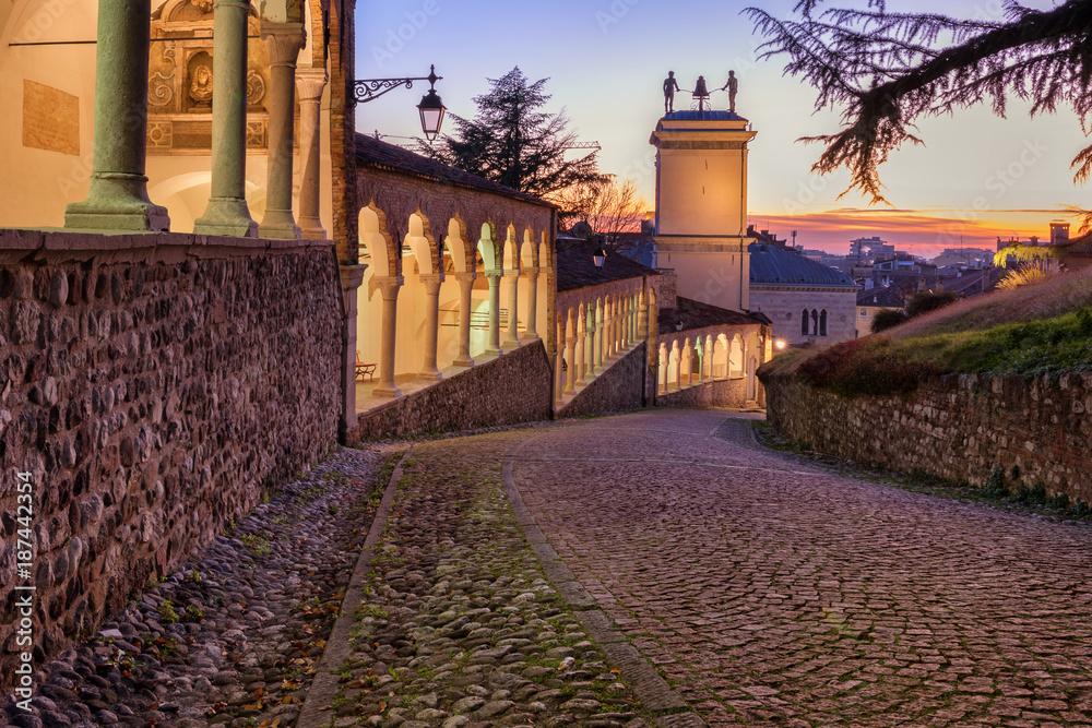 Fototapety, obrazy: Udine city, castle colonnade and bell tower, Friuli Venezia Giulia, Italy