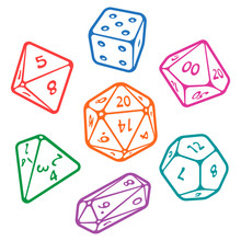 Vector Icon Set Of Dice For Fa...