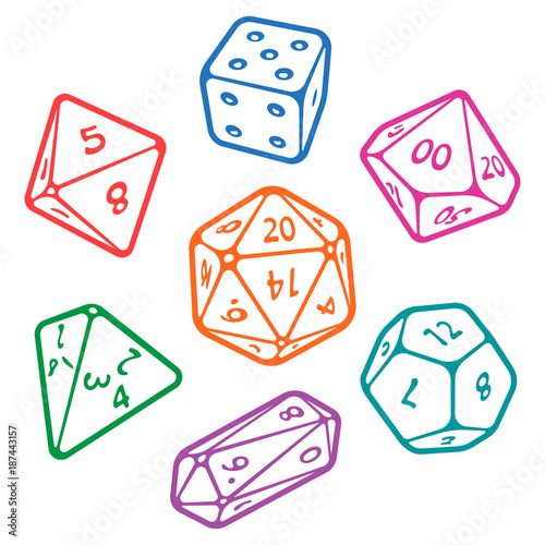 Obraz na płótnie Vector icon set of dice for fantasy dnd and rpg tabletop games