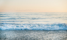 Calm Sea And Pebble Beach View At Sunset, Pastel Colors