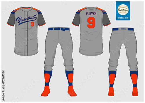 Obraz na plátne Baseball jersey, sport uniform, raglan t-shirt sport, short, sock template