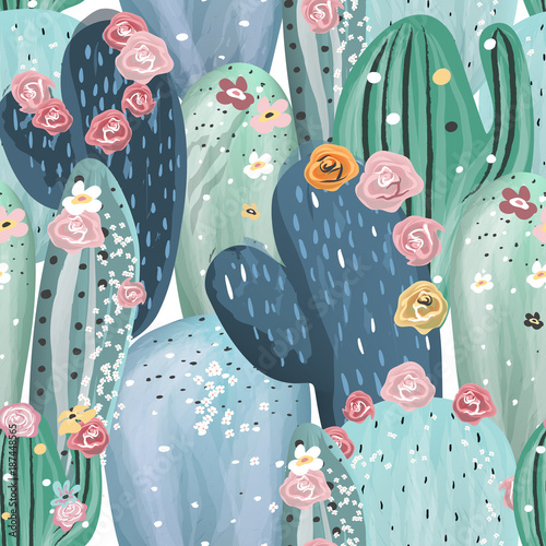 Tapeta do salonu  beautiful-pastel-vintage-cactuses-succulents-cacti-with-pink-white-and-yellow-flowers-seamless-pattern