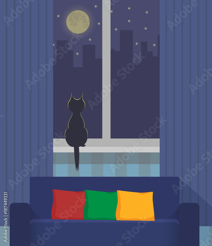 Incredible Silhouette Of A Cat Sitting On A Windowsill Under The Light Andrewgaddart Wooden Chair Designs For Living Room Andrewgaddartcom