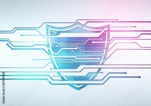 Abstract Digital Concept Illustration Of Internet Data Security And Safety With Shield On Circuit Microchip Background