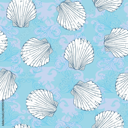 Cotton fabric Vector seamless pattern with hand drawn scallop shells. Beautiful marine design elements, perfect for prints and patterns.