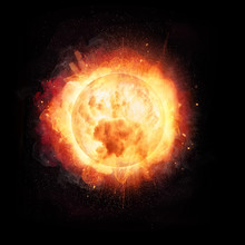 Abstract Fire Ball Explosion Like The Sun Concept On Black Background