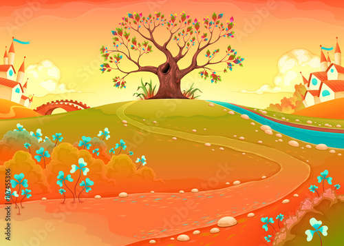 Staande foto Kinderkamer Countryside landscape with tree in the sunset