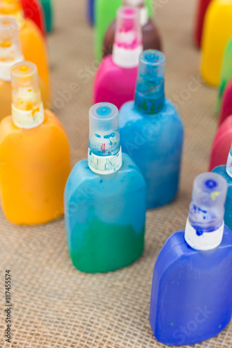 art supplies, drawing, painting concept  there are small colorful
