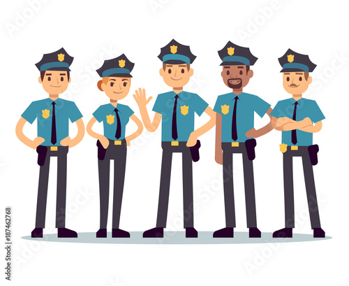 Foto Group of police officers. Woman and man cops vector characters