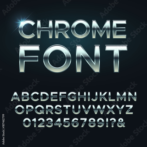 Fotografia, Obraz Chrome metal vector font. Steel metallic alphabet letters