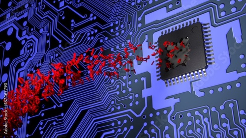 Photo Cracked open chip on a circuit board spitting out red binary stream