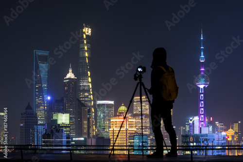 Photo  City network at night