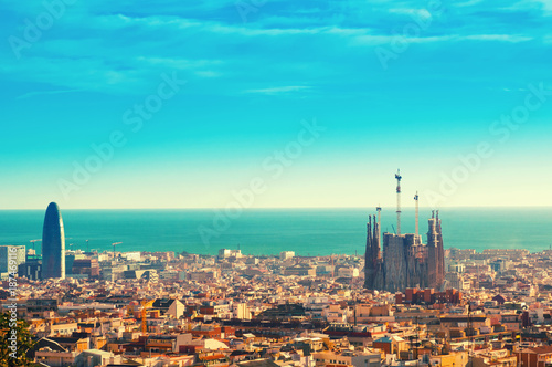 Canvas Print View above on Barcelona landmark from Montjuic hill