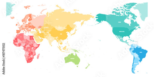 Foto op Canvas Wereldkaart Colorful political map of World divided into six continents and focused on Asia, Australia and Oceania region. Blank vector map in rainbow spectrum colors.