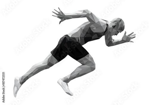 Carta da parati start running sprinter man athlete low poly silhouette
