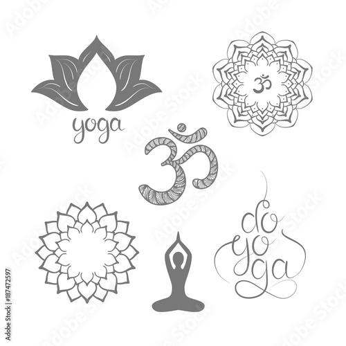 Om symbol with hand drawn mandala, Lotus. Do Yoga. Lettering ...