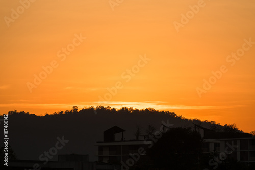 Poster Corail View of Khao Takiab beach in the sunset at Prachuab Khirikhan,Thailand.