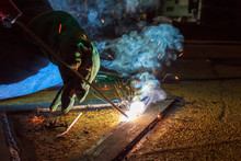 Welder Perform Welding To The ...