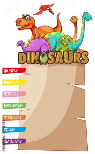 Aluminium Prints Submarine Weekly planner with dinosaurs in background