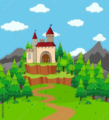 Staande foto Kasteel Scene with castle tower in the field