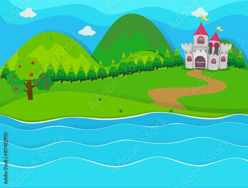 Spoed Foto op Canvas Turkoois Scene with castle by the river