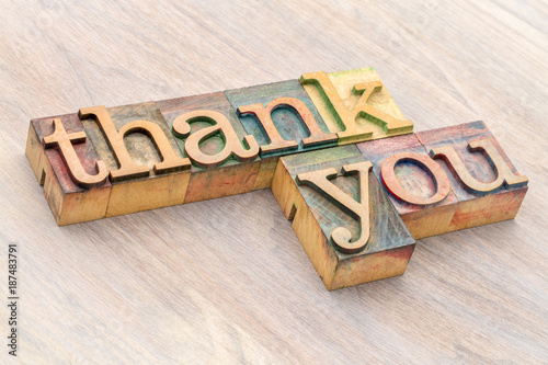 thank you word abstract in wood type Canvas Print