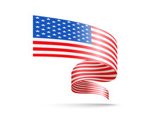 Flag Of USA In The Form Of Waving Ribbons. Vector Illustration On White Background.